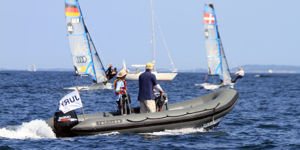 Tornado 5.4m coach boat in grey sailing at 29'er European Championship in Denmark