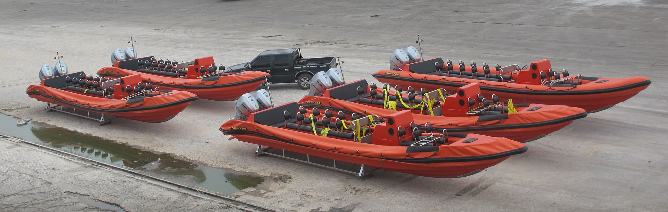 five large orange ribs from Tornado Boats