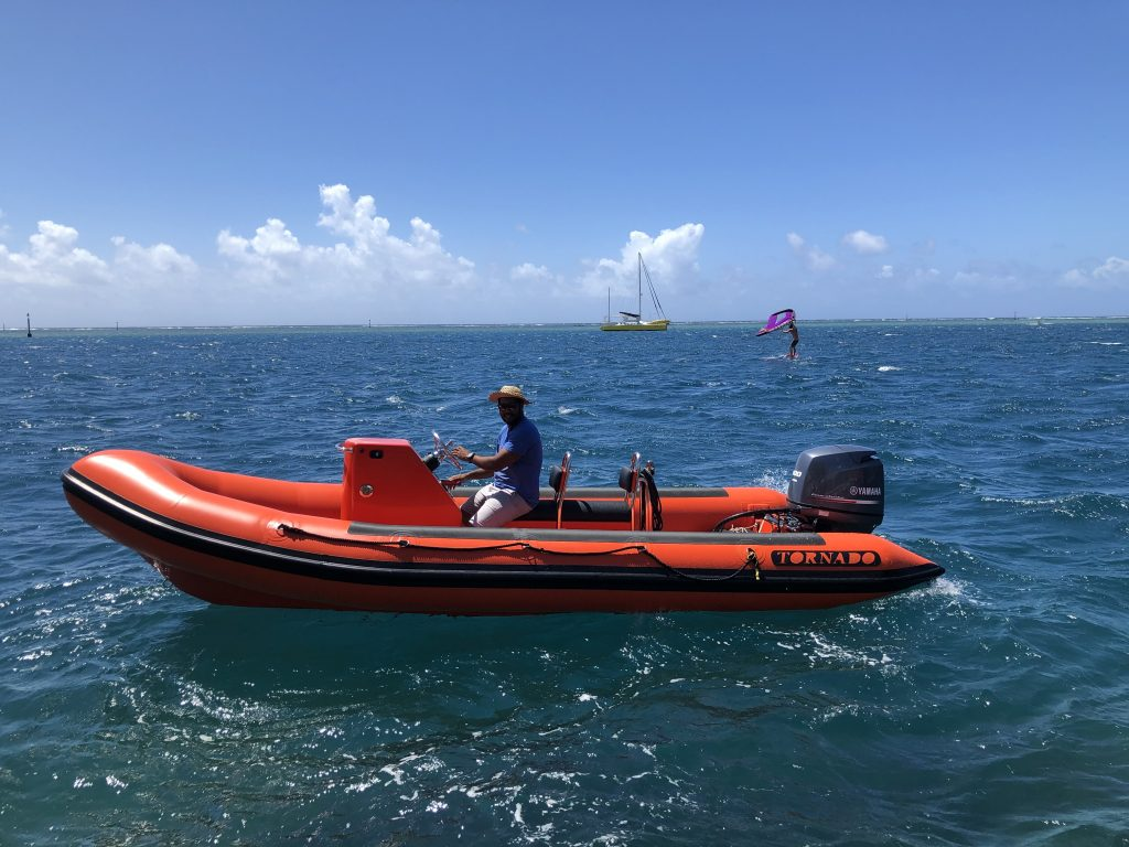 Tornado 5.8m high performance rib in orange from our Tornado Boats dealer in Tahiti